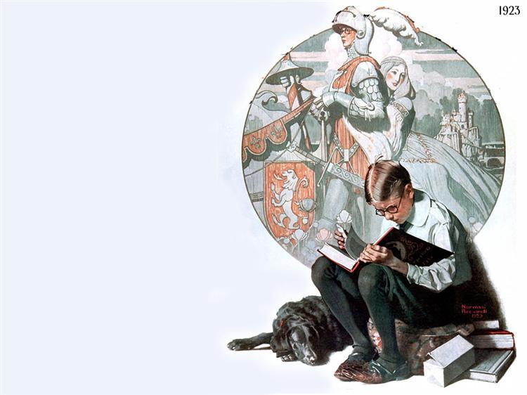 Boy_reading_adventure_story_Norman-Rockwell_1923_artness_leggere